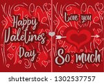 set of 3 gift cards with the... | Shutterstock .eps vector #1302537757