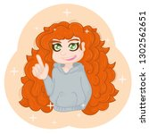 red haired girl with an idea ... | Shutterstock . vector #1302562651