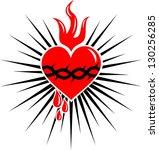 sacred heart of jesus   rays  ... | Shutterstock .eps vector #130256285