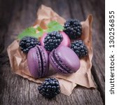 macaroons with blackberries | Shutterstock . vector #130256855