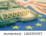 risk of brexit or the... | Shutterstock . vector #1302592357