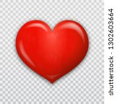 red heart 3d isolated on... | Shutterstock .eps vector #1302603664