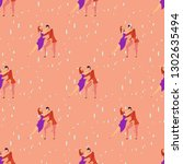 seamless pattern with lovers b... | Shutterstock .eps vector #1302635494