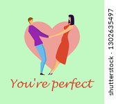 greeting card with lovers.... | Shutterstock .eps vector #1302635497