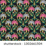 seamless floral pattern with... | Shutterstock .eps vector #1302661504