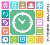 clocks and time icons set.... | Shutterstock .eps vector #1302665461