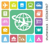 travel and vacation icons set ... | Shutterstock .eps vector #1302665467