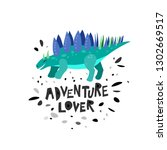 cute dinosaur hand drawn with... | Shutterstock .eps vector #1302669517