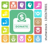 charity and donation icons set. ... | Shutterstock .eps vector #1302678001
