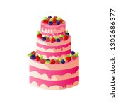 delicious cake with fresh... | Shutterstock .eps vector #1302686377