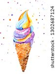 bright watercolor drawing of an ... | Shutterstock . vector #1302687124