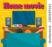 home movie concept background.... | Shutterstock .eps vector #1302695161