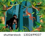 gorilla ape  monkeys   and... | Shutterstock .eps vector #1302699037