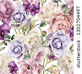 seamless floral pattern with... | Shutterstock . vector #1302704497