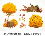 set of autumn yellow bushes and ... | Shutterstock .eps vector #1302714997