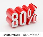 80   80 percent glossy red... | Shutterstock . vector #1302744214