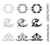 damask vector set of vintage...   Shutterstock .eps vector #1302752497