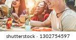 happy multiracial friends... | Shutterstock . vector #1302754597