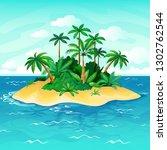 ocean island cartoon. palm...   Shutterstock .eps vector #1302762544