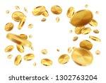 golden coins. realistic jackpot ... | Shutterstock .eps vector #1302763204