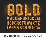 golden font alphabet  number... | Shutterstock .eps vector #1302773404