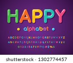 colorful stylized alphabet... | Shutterstock .eps vector #1302774457