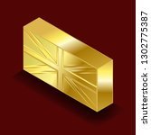 isometric image of a gold bar.... | Shutterstock .eps vector #1302775387