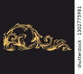 gold ornament baroque style.... | Shutterstock .eps vector #1302775981