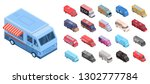 food truck icons set. isometric ... | Shutterstock .eps vector #1302777784