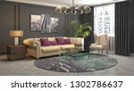 interior of the living room. 3d ... | Shutterstock . vector #1302786637