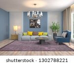 interior of the living room. 3d ... | Shutterstock . vector #1302788221