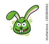 crazy green bunny mascot logo... | Shutterstock .eps vector #1302804061