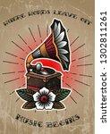 retro gramophone and flower...   Shutterstock .eps vector #1302811261