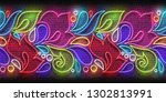 vintage glow signboard with... | Shutterstock .eps vector #1302813991