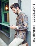young man wearing casual... | Shutterstock . vector #1302815041