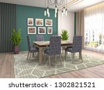 interior dining area. 3d... | Shutterstock . vector #1302821521