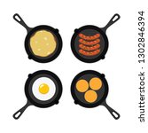 vector set of pans with small... | Shutterstock .eps vector #1302846394