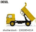 isolated diesel dump truck is...   Shutterstock .eps vector #1302854314
