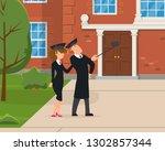 graduates make selfie against... | Shutterstock .eps vector #1302857344