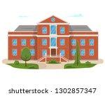 school building with the street.... | Shutterstock .eps vector #1302857347