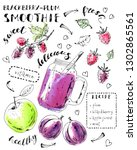 hand drawn smoothie jar with... | Shutterstock .eps vector #1302865561