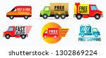 set of vehicle free shipping or ... | Shutterstock .eps vector #1302869224