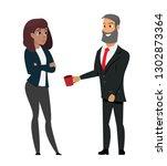 man in formal wear offering... | Shutterstock .eps vector #1302873364