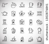 tea and coffee outline icons... | Shutterstock .eps vector #1302876841