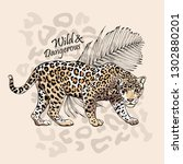 graceful leopard and fern leaf. ... | Shutterstock .eps vector #1302880201