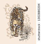 graceful leopard and fan palm... | Shutterstock .eps vector #1302880204