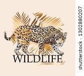 graceful leopard and gold fan... | Shutterstock .eps vector #1302880207