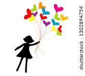 girl silhouette flying with...   Shutterstock .eps vector #1302894754