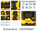 abstract tech colorful... | Shutterstock .eps vector #1302906007