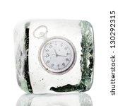 Frozen Clock In A Block Of Ice